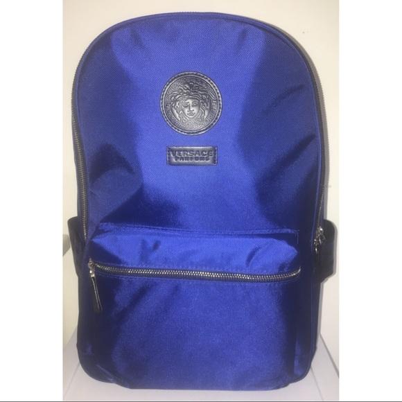 5510bb4c8c Versace Navy Blue Nylon Medusa Head Backpack NWT
